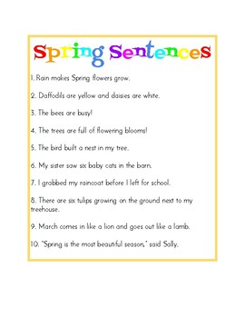 Spring Sentences - Montessori Grammar