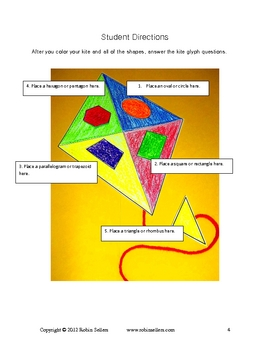 Spring Shapes Kite Glyph for Math and Literacy Fun