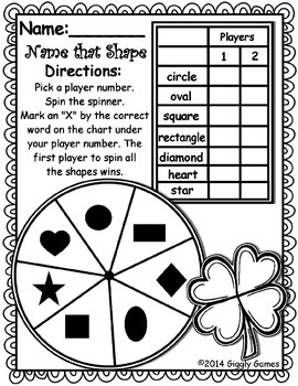 Spring Shapes Spinner Game Worksheet