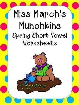 Spring Short Vowel Worksheets- Kindergarten-1st Grade