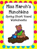 Spring Short Vowel Worksheets- Kindergarten-1st Grade