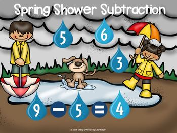 Spring Shower Themed Subtraction Activities For GOOGLE CLASSROOM