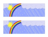 Spring Showers Bulletin Board Border Rainbow Rain Sun Weather Printable Color