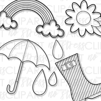 Spring Showers Clip Art (Digital Use Ok!)