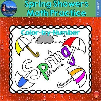 Spring Showers Math Practice Color by Number Grades 5-8 Bundle