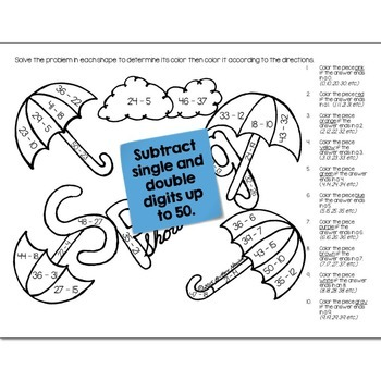 Spring Showers Math Practice Color by Number Grades K-8 Bundle