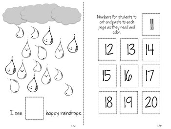 Spring Showers Count and Cut Emergent Reader (Number 11-20)