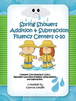 Spring Showers Math Centers ~ Fluency 0-10