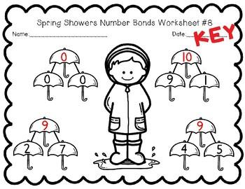 Spring Showers Number Bond Worksheets