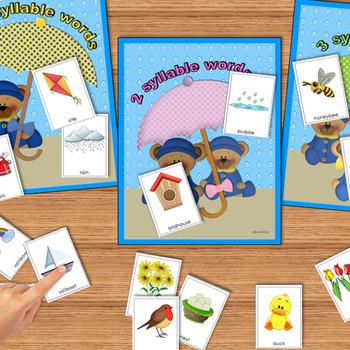 SYLLABLES: Syllable Sorts, Syllables Literacy Center, Phonics, Spring