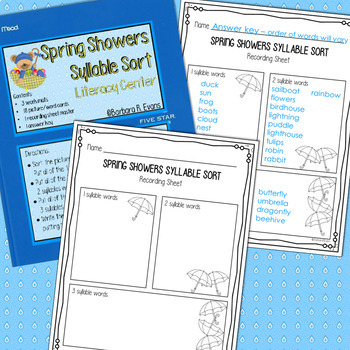 SYLLABLES: Syllable Sorts, Syllables Literacy Center, Phonics, Spring