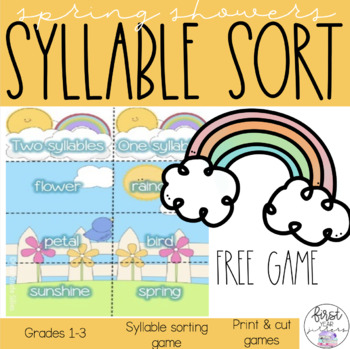 Spring Showers - Syllable sorting activity