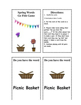 Spring Sight WOrds Matching Game