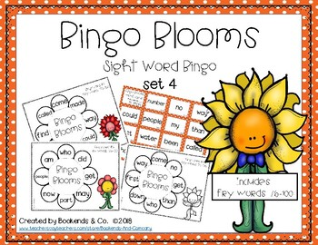 Spring Sight Word Bingo Learning Center Game  Set 4 - Fry Words 76-100