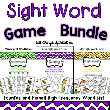 Spring Sight Word Bundle - Fountas and Pinnell Word Lists