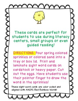 Spring Sight Word Cards! Red Rainbow Words