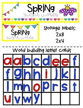 Spring Sight Word Center