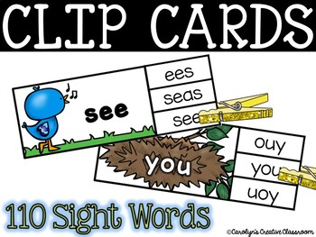 Spring Sight Word Clip Cards - 110 Sight word cards! (Bird