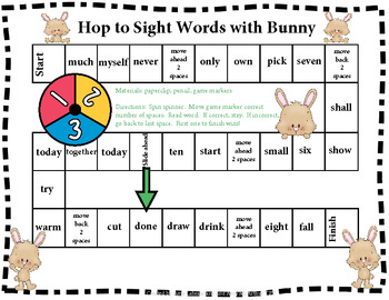 Spring Sight Word Games With Bunny PK-3rd RFS.1.3g