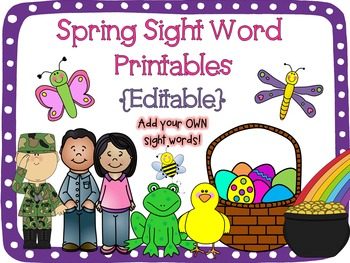 Spring Sight Word Printables {Editable!}