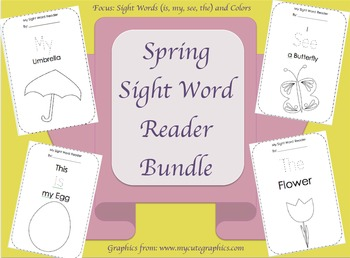 Spring Sight Word Reader Bundle// Word Focus: the, is, my, see