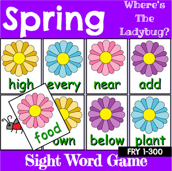 Spring Sight Word Recognition Center or Whole Group Game for Fry 1-300
