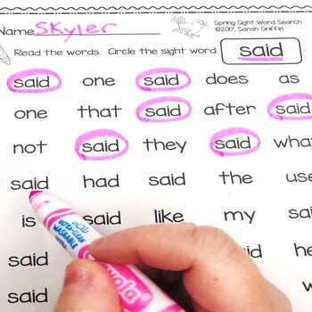 Spring Sight Word Search Worksheets