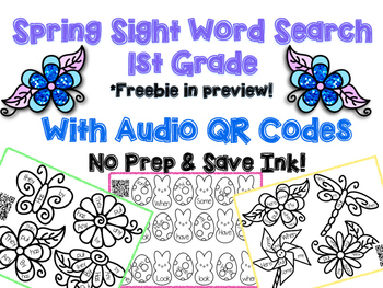 Sight Word Search with Audio QR Codes - Spring