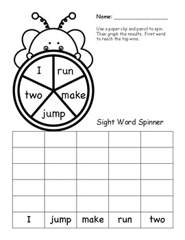 Spring Themed Sight Word Practice PRE-PRIMER Spinners