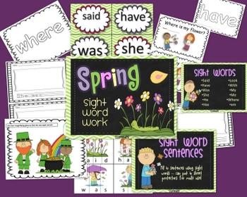 Spring Sight Word Word Work