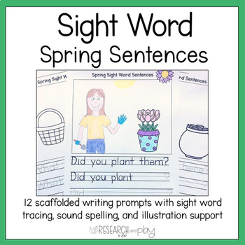 Spring Sight Word Writing Prompts Kindergarten