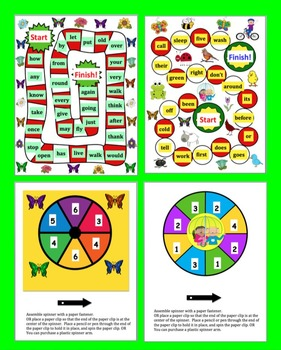 Spring Activities: Sight Words Game Boards-Last 114 Dolch + 10 Nouns