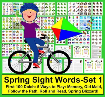 Spring Sight Words Literacy Center Activities: 5 Ways to Play - Set 1