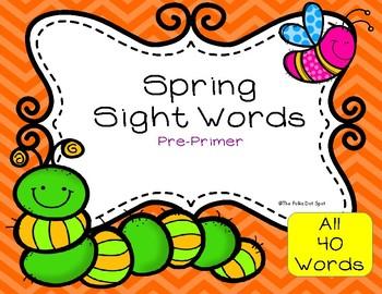 Spring Sight Words- Pre-Primer