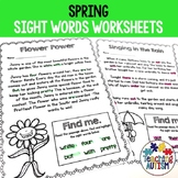 Sight Words Worksheets for Kindergarten, Spring