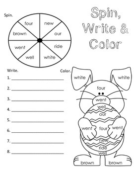 Sight Words Spin, Write & Color {Spring Theme}