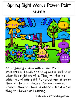 Spring Sight Words with Audio Power Point Game (Bunny Theme)
