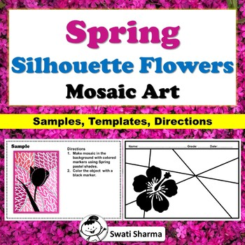 Spring Art Activities Packet, Silhouette Flowers, Mosaic Art Project Worksheets