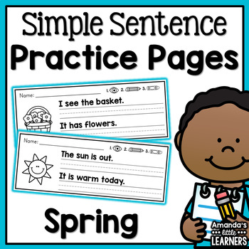 Spring Simple Sentence Practice Strips - No Prep