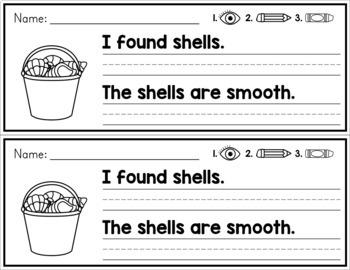 Summer Simple Sentence Practice Strips - No Prep