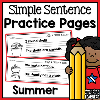 Summer Simple Sentence Practice Strips - No Prep
