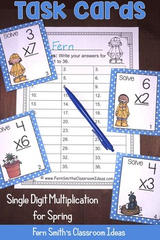 Spring Single Digit Multiplication Task Cards, Recording Sheets and Answer Keys