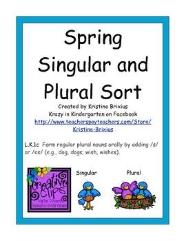 Spring Singular and Plural Noun Sort for Kindergarteners w