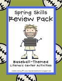 Spring Skills Review Packet: Baseball-Themed Literacy Centers