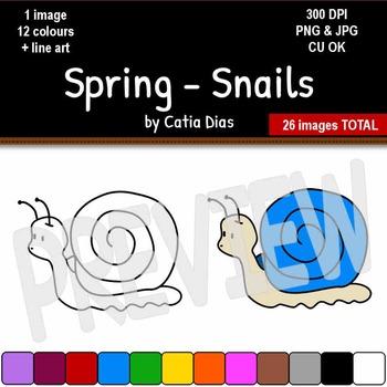 Spring - Snails Clip Art
