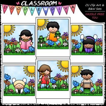 Spring Snapshots - Clip Art & B&W Set