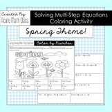 Spring Solving Multi-Step Equations Coloring Activity Sheet