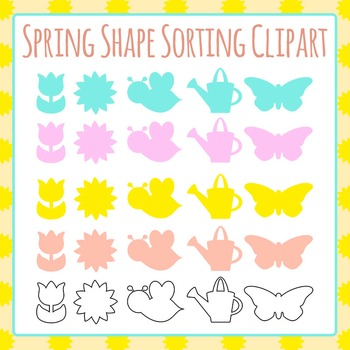 Spring Sorting Shapes Clip Art Set for Commercial Use