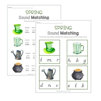 Spring Sound Matching & Letter Writing Practice