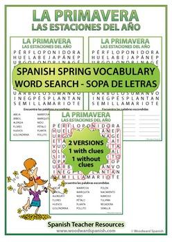Spring Spanish Word Search - La Primavera - Sopa de Letras